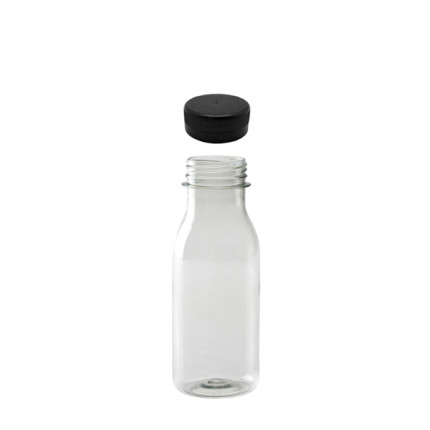 Botella-PET-transparente-reciclable-250ml.-con-tapón-negro-pre-enroscado
